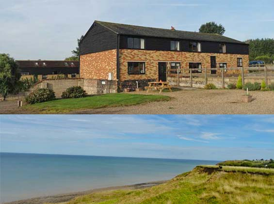 superior converted barn in Kent with coastal views