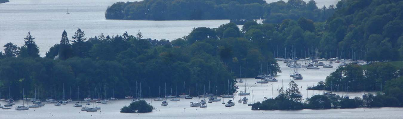 Ambleside at the head of Windemere with sailing