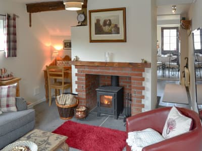 Charming living room with cosy wood burner | The Cottage, Norton Subcourse, near Loddon