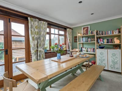 Light and airy dining area | Carlton Cottage, Hessett, near Bury St Edmunds