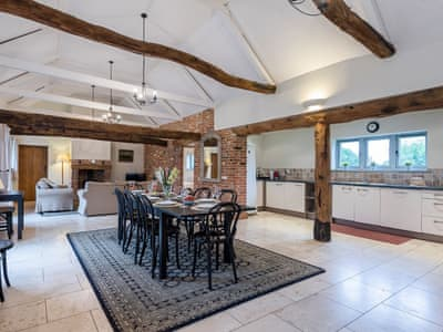 Open plan living space with marble floor | The Stables - Manor Mews, Tattersett, near Fakenham