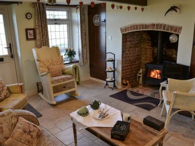 Cosy living room with wood burner | Lily Rose Cottage, Honing, near North Walsham