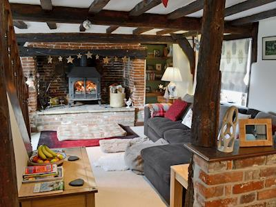 Living room with cosy woodburner | Wilfred's Cottage, Hempnall, near Norwich