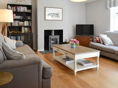 Cosy living room with wood burner | Pink Cottage, Egmere, near Wells-next-the-Sea