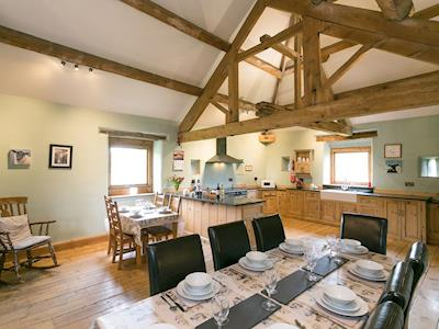Kitchen & dining space with beamed vaulted ceiling | Hall Barn, Earl Sterndale, near Buxton
