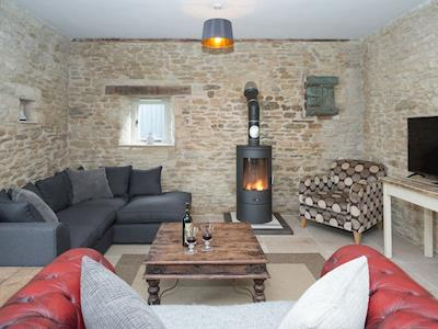 Cosy living space with wood burner | The Middle Barn - Sands Farm Cottages, Dyrham, near Bath