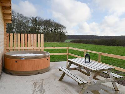 Relax and take in the view from the private hot tub | Halfmoon Wood - Readyfields Farm, Caunton, near Newark