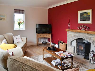 "Relaxing lounge with wood burner and 42"" Freeview TV 