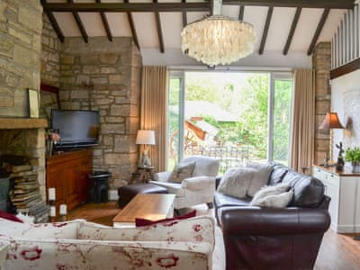 Open plan living space with beamed ceiling | The Old Forge, Stocksfield, near Corbridge