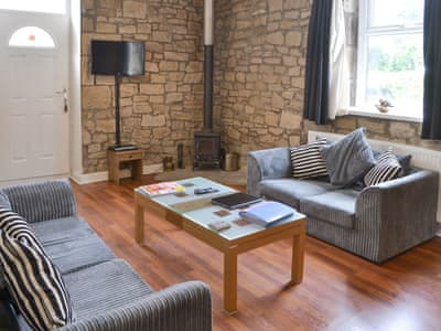 Welcoming living area with wood burner | Stable Cottage - Railway Cottages, Acklington, near Amble
