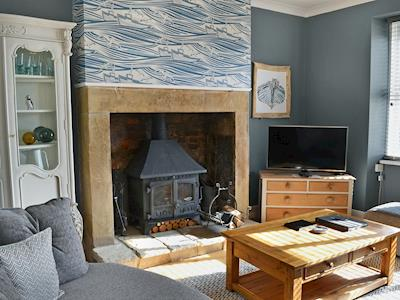 Tastefully furnished living room with wood burner | Crow's Nest, Seahouses