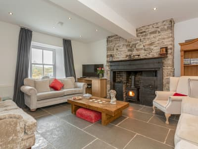 Characterful living room with cosy wood burner | The Old Miners Hall - Burnside Cottages, Rookhope, near Stanhope