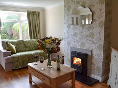Cosy living room with wood burner | Cosy Cottage, Battle