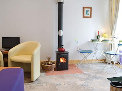 Light & airy living space with wood burner | Homestead Stables Holiday Cottages - Henge - Homestead Stables Holiday Cottages, Market Lavington, near Devizes