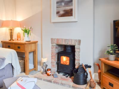Comfortable living room with warming stove | The Boutique Apartment, Uckfield