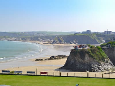 Gloriou spanoramic views across the bay, beach, town and coastline | Towan View Loft, Newquay