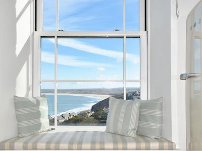 Far reaching sea views from the kitchen area | Fernhill Apartment, Carbis Bay, near St Ives