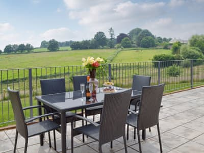 Sitting out area with countryside views | Beech View - Nibbs Farm Cottages, Washfield, near Tiverton